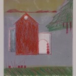 "Sweet Home I, 2011 monotype, 6"" x 6"""