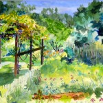 Summer garden watercolor
