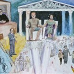 "The Trial- 1951 oil on panel, 1983, 42"" x 45"""