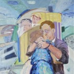 "The Embrace-1950 oil on panel, 1984, 42"" x 42"""