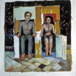 "Ethel & Julius IV acrylic, craypas, pencil on paper, 1984 24"" x 24"""
